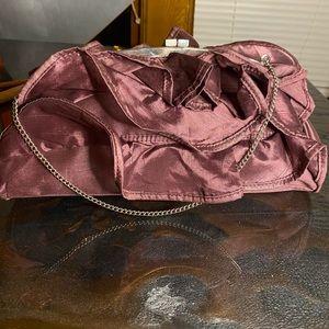 BCBG Burgunday Purple ruffled Satin clutch / purse